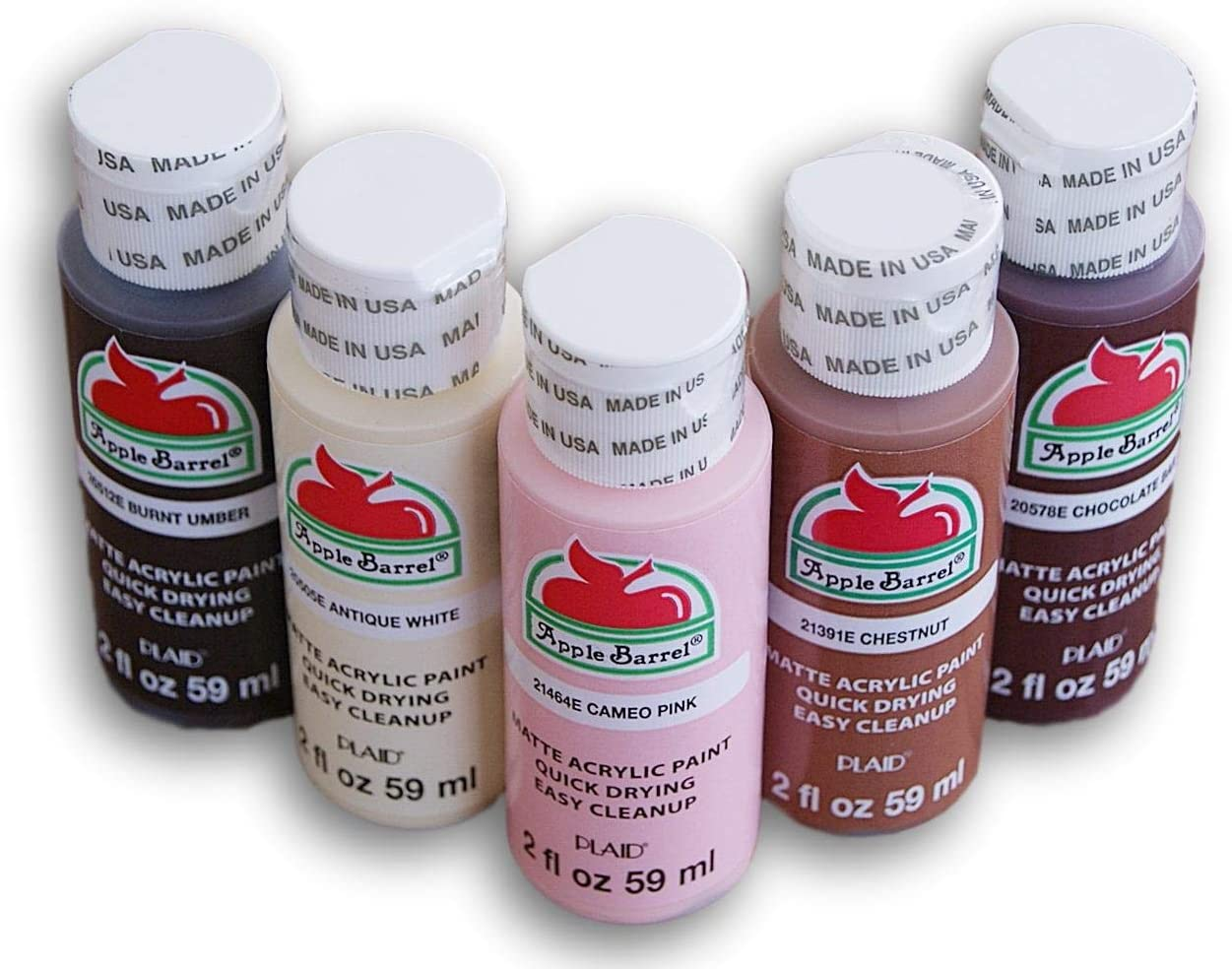 Skin Tones Acrylic Paint Set - Burnt Umber, Chocolate Bar, Antique White, Cameo Pink, and Chestnut