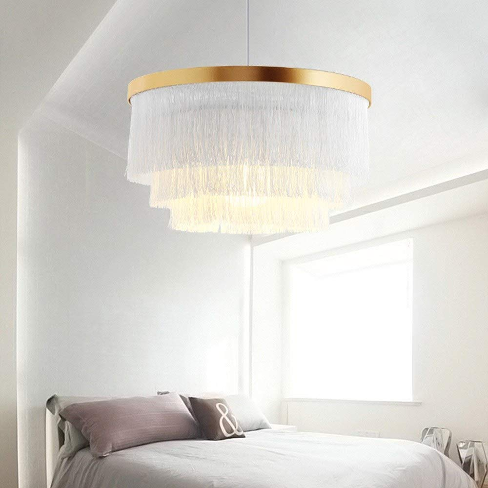 Color : Gray Nordic Decorative Pendant Light Warm Romantic LED Tassel Ceiling Chandeliers Gray//Blue//Pink//White Creative Restaurant Bedroom Dining Room Ceiling Hanging Lamp
