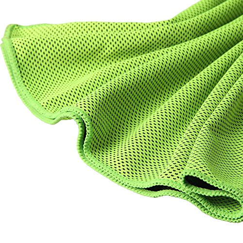 Tritina Cool Towel Neck Wrap for Beach Sports, Travel,Camping, Yoga, Workout long-lasting Ice Chill XL 80x32 cm / 32x13 inch Pack of 5 Green