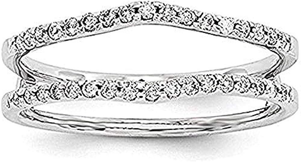 SILVER SEA EMPIRE Beautiful Simulated Diamonds Wedding Band Ring Guard Enhancer for Womens