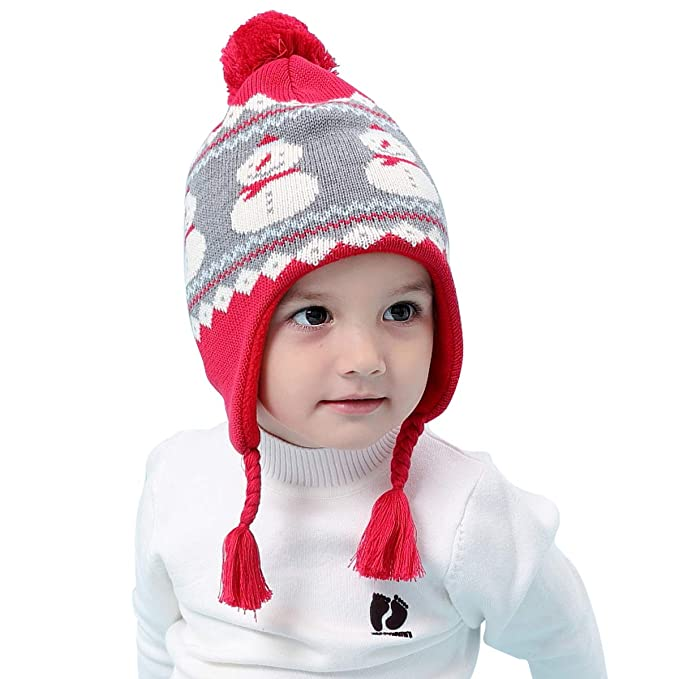 LAPLBEKE Cappelli Cappello Neonato Inverno Pon Pon Ragazza Ragazzi Earflap  Infantile Invernale del Bambino ha Lavorato d39b65c0e3d6