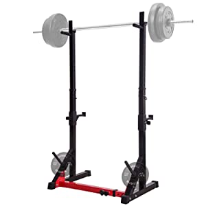 Ollieroo Multi-Function Barbell Rack Height Adjustable Dip Stand Gym Family Fitness Squat Rack Weight Lifting Bench Press Dipping Station with Barbell Plate Rack, Height Range 46.8''-68.1''