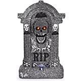 "Animated Halloween 20"" Foam RIP Graveyard Tombstone Halloween Decorations with Great Sound Effect and Laughing Skeleton Face"