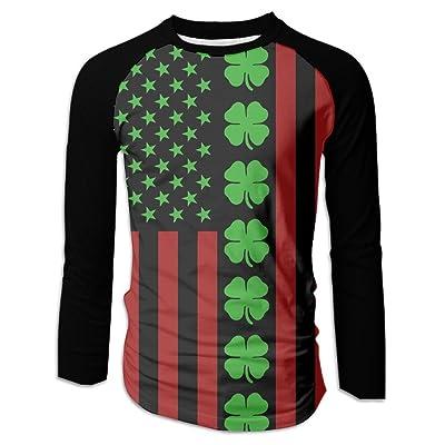 American Flag Saint Patrick's Day Clover Men Long-Sleeve Shirts Fit Round Neck Raglan Baseball T-Shirts