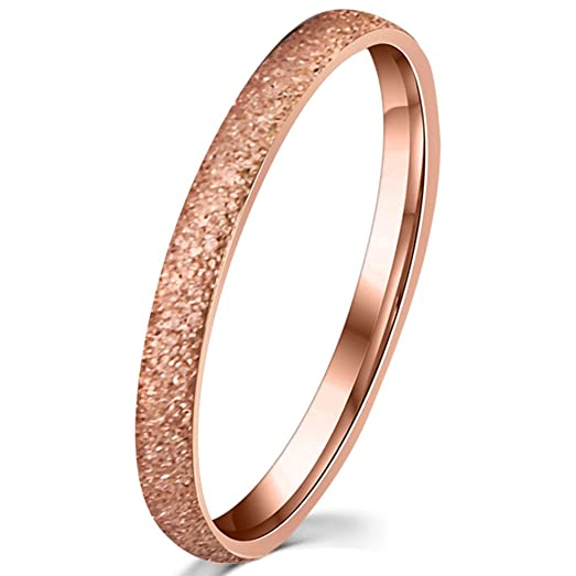 Womens 2mm Stainless Steel Sand Blast Finish Rose Gold Wedding Band Engagement Domed Ring Size 4