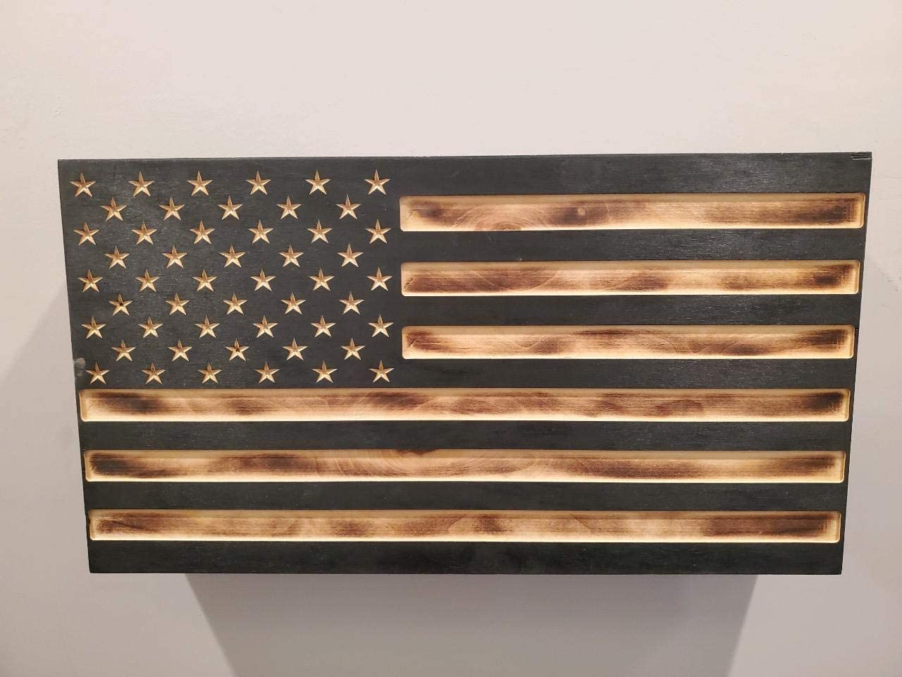San Tan Woodworks Carved Burnt Wood Concealment American Flag. American Concealment Cabinet for The Home (Burnt)