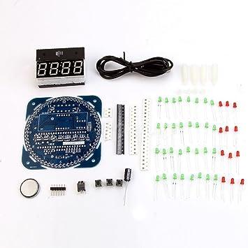 Industria Park 5 V DS1302 rotación LED electrónico reloj digital DIY Kit 51 SCM Junta Aprendizaje: Amazon.es: Electrónica