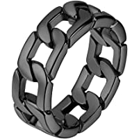 U7 Cuban Chain Band Ring, 7mm Width, Size O to Size Y, Gold/Black Plated, 316L Stainless Steel Trendy Hip Hop Jewelry Curb Link Ring