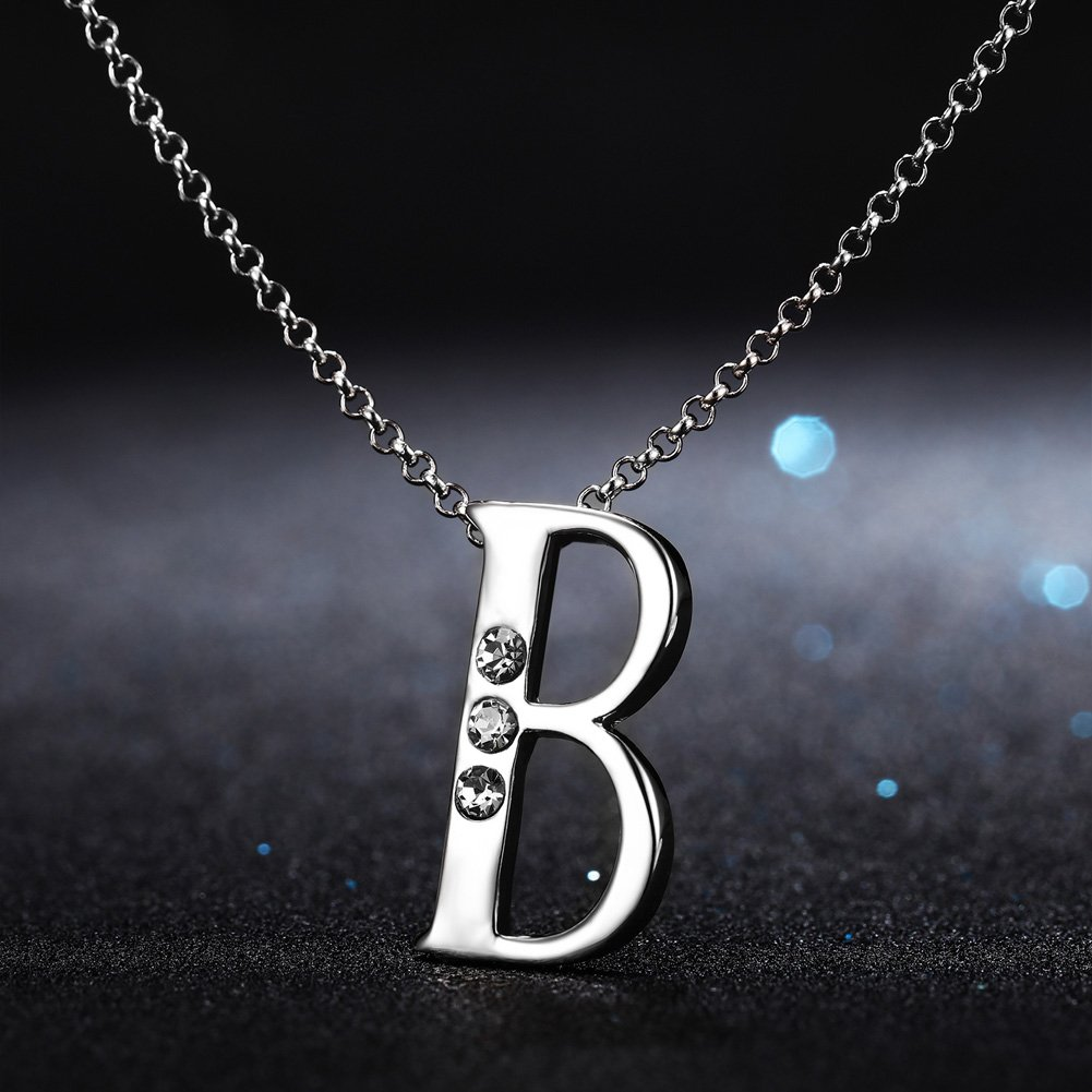 6f53e96cb38d6 Alphabet Letter Shape Pendant Necklace with White Gold Plated And Swarovski  Crystal Decorated Gift for Mum