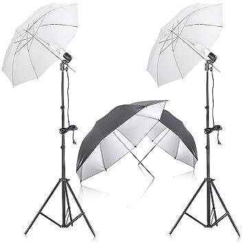 e1c92e2e43db Neewer 400W 5500K Photo Studio Kit Eclairage Continu Parapluie avec 2  Pieces 84cm Noir   Argent