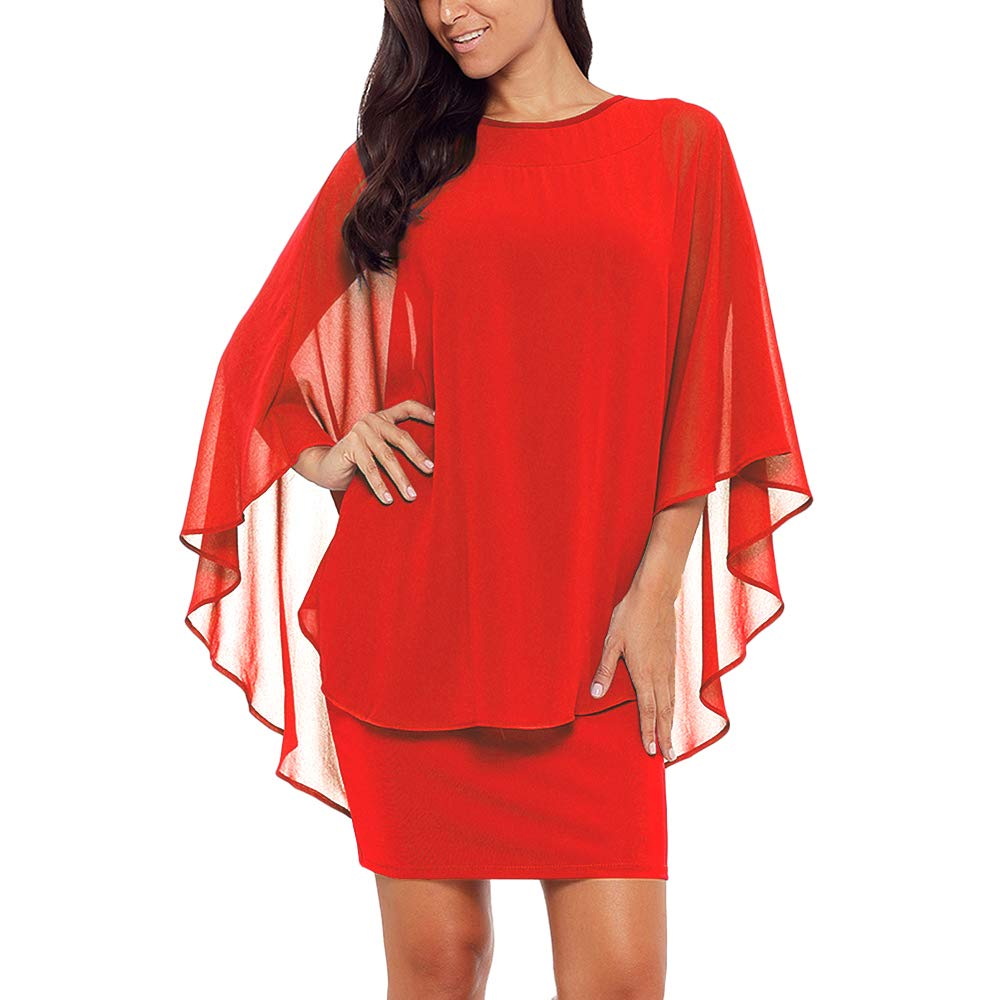 Lrady Womens Chiffon Overlay Ruffle Sleeve Party Cocktail Bodycon Mini Dress