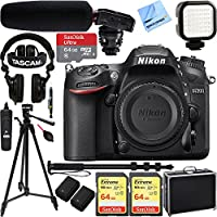 Nikon D7200 DX-Format 24.2MP Digital HD-SLR Camera Body with 3.2 LCD WiFi NFC w/ Tascam DSLR Audio Recorder and Shotgun Microphone + 128GB & 64GB Pro Video Bundle