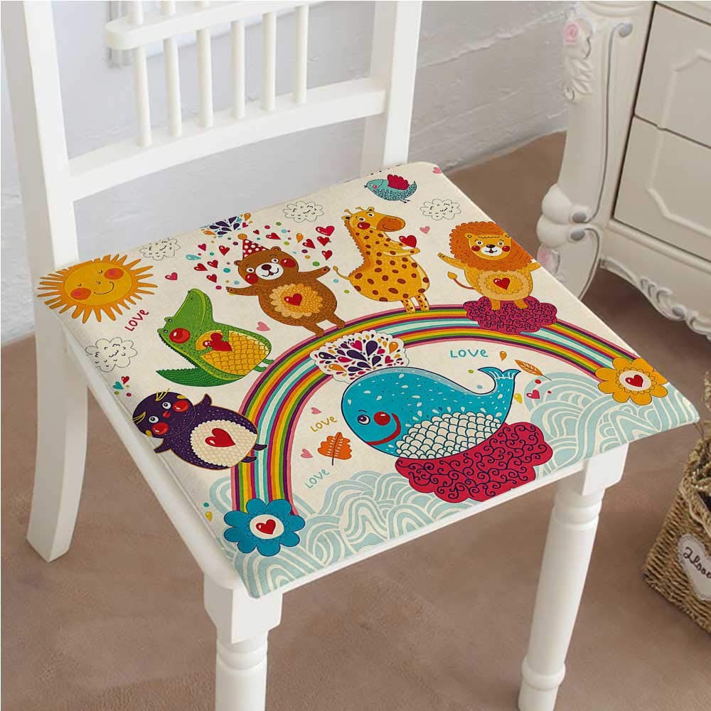 Mikihome Dining Chair Pad Cushion for Kids Hand Drawn Tropic Wild Animals and Whale on a Rainbow Image Fashions Indoor/Outdoor Bistro Chair Cushion 26''x26''x2pcs