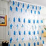 Window Curtain Drapes Scarf Decor,Quaanti Clearance Sale! Ultra-Light Ultra-Thin Luxury Voile Net Curtains Slot Top Plain Floral Door Screen Windows for Bedroom&Living Room& Kitchen (Blue)