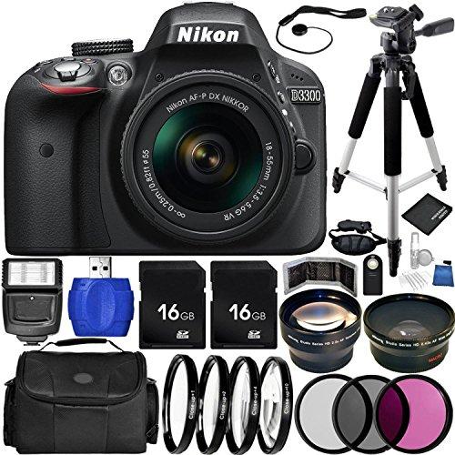 Nikon D3300 DSLR Camera (Black) Bundle with DX NIKKOR 18-55mm f/3.5-5.6G VR Lens, Carrying Case and Accessory Kit (29 Items) (Nikon Digital D3300 Camera)