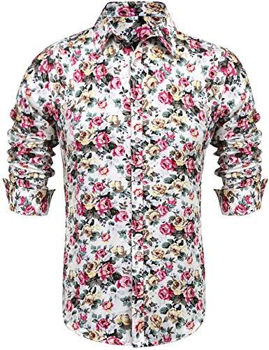Daupanzees Men's Hawaiian Shirts Floral Printed Tropical Unisex Casual Short Sleeve Aloha Vacation Button Down Island Shirt (Beige XL)