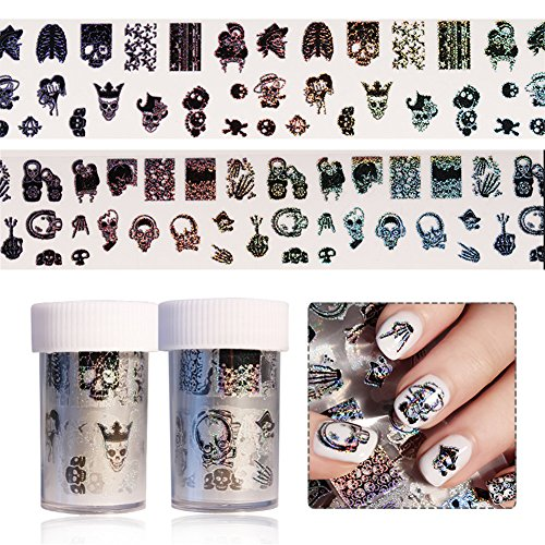 BORN PRETTY 2 Rolls Nail Art Holographic Foil Sticker Halloween Theme Skull Wing Manicure Starry Sky Laser Transfer Decals (Easy Nail Art Designs For Halloween)