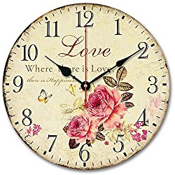 Usmile 12 inch Wall Clock Battery Operated Silent Non Ticking Vintage Large Decorative Wooden Retro Wall Clocks for Living Room Kitchen Kids Room (Sweet Rose Sing for Love Style)