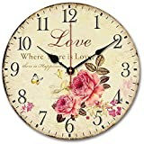 Usmile 12'' Vintage Sweet Rose sing for love style Wooden Wall Clocks Decorative wall clocks Retro wall clocks large wall clocks
