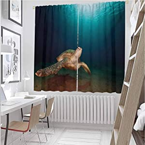 Mozenou Turtle Window Decoration Curtains Green Turtle Swimming Underwater Sunbeams Aquatic Wildlife Picture Ideal for Living Rooms and bedrooms Aqua Dark Blue Pale Brown