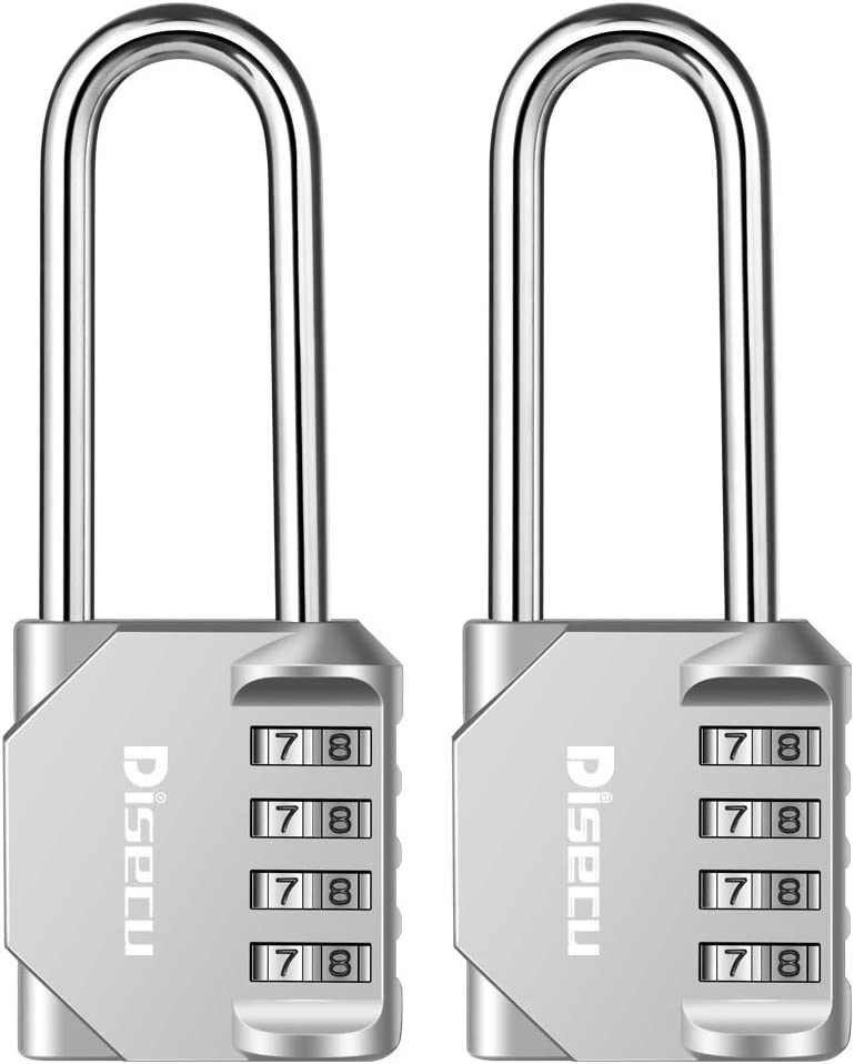 2.5 Inch Long Shackle 4 Digit Combination Lock and Outdoor Resettable Waterproof Padlock for Gym Locker, Cooler, Gate, Hasp Cabinet, Toolbox (Silver,Pack of 2)