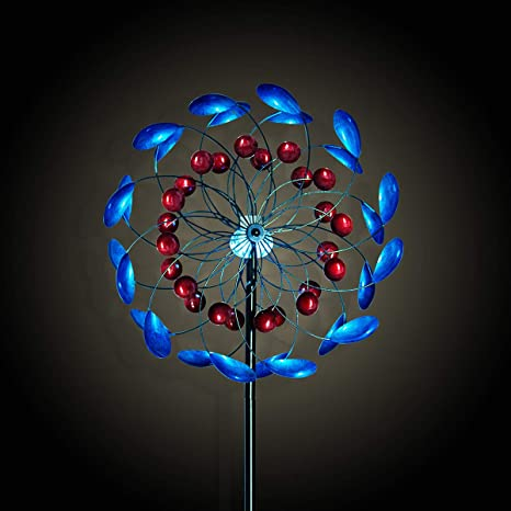 Hourflik Solar Wind Spinner 3d Kinetic Wind Spinners Outdoor Metal Gardening Decorations With Multi Color Led Lighting By Solar Powered Glass Ball With Lawn Ornament Wind Mills Amazon In Garden Outdoors