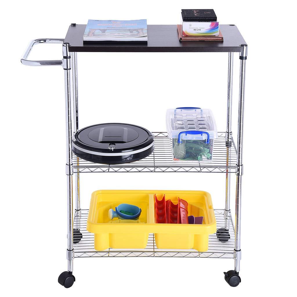 Cart Microwave Rack, 3-Tier Kitchen Baker's Storage Rack Oven Shelf Standing Spice Storage Wheeled (Silver)