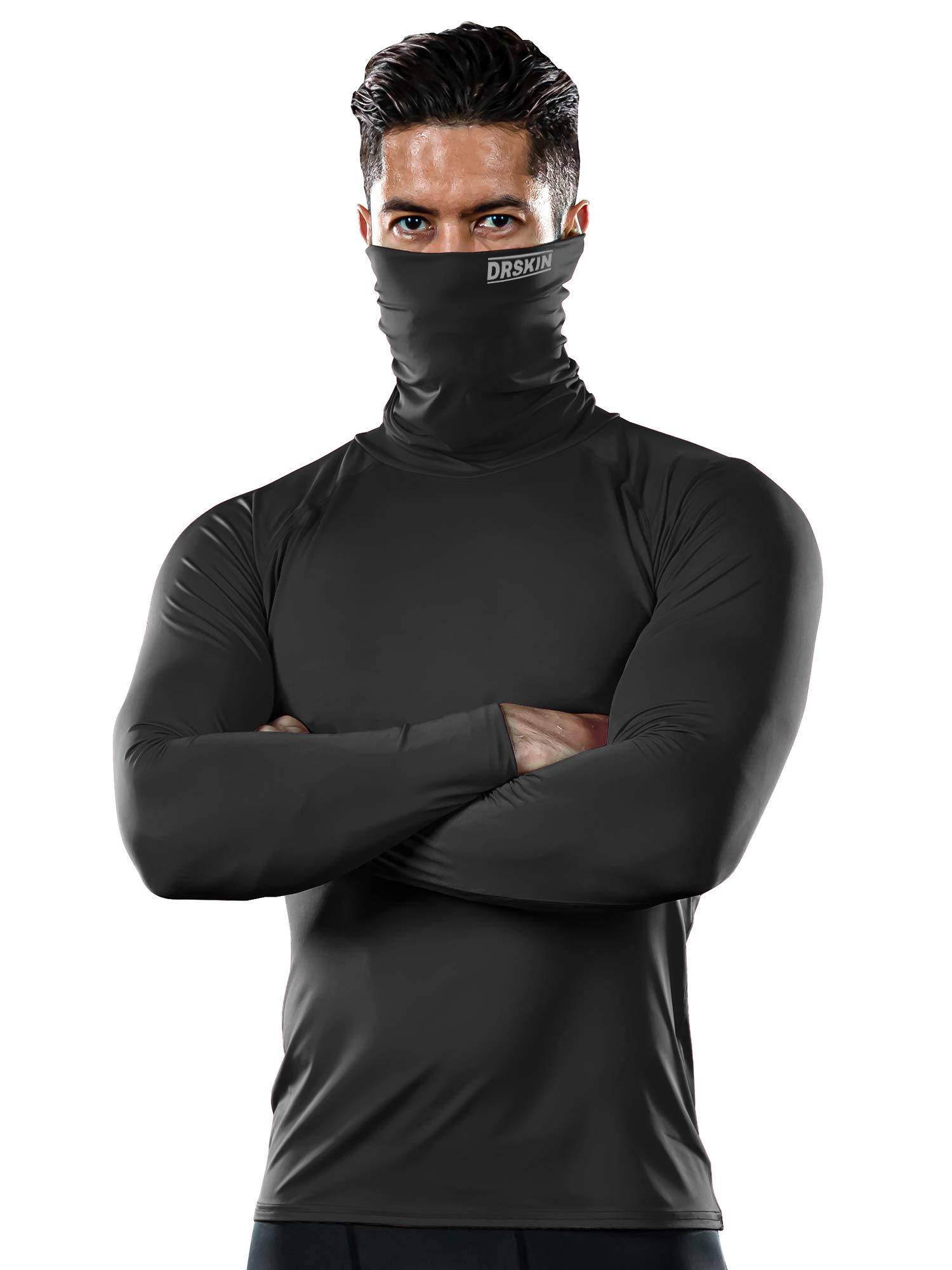DRSKIN MASK Turtleneck Compression Shirts Top Dry Sports Baselayer Running Long Sleeve Thermal Cold Men