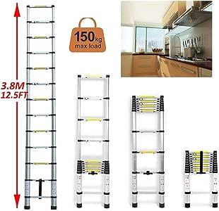 Escalera de extensión para el techo limpio, 3,8 m, escaleras de aluminio resistente, telescópica y plegable, con patas de goma antideslizantes negras, carga máxima 330 libras, certificación EN131: Amazon.es: Bricolaje y herramientas