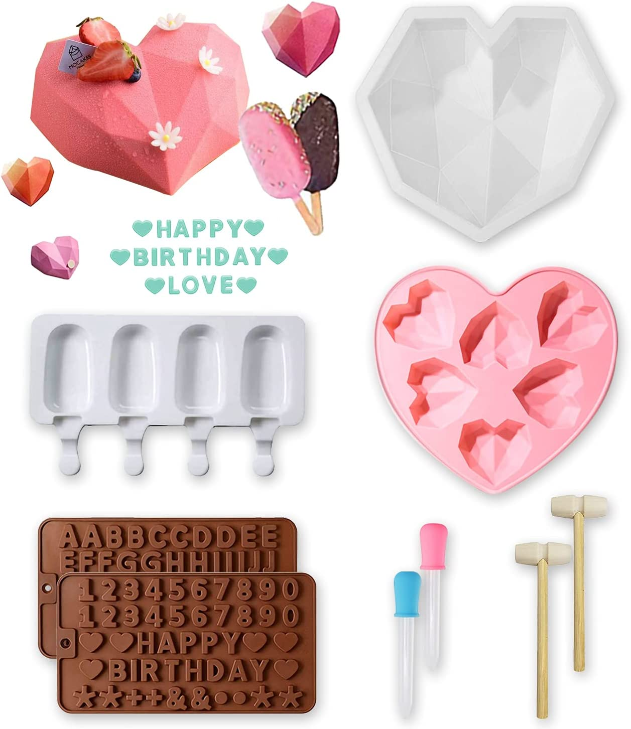 Silicone Heart Molds for Cake Breakable Chocolate Molds Candy Ice Molds for Baking and Frozen 10 Pack Silicone Gummy Mold Tool with 1 Diamond &6 heart,4 in 1 Ice Cube Tray for Dessert Making DIY Cream