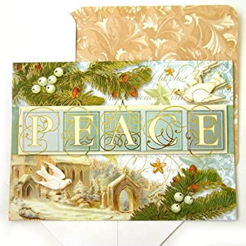Amazon punch studio 59754 christmas holiday greeting cards punch studio 59754 christmas holiday greeting cards peace white turtle doves die cut gold m4hsunfo