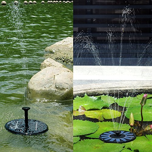 VC-Time Solar Water Pump, 1.4W Solar Bird Bath Fountain Pump, Free Standing Solar Panel Kit Water Pump, Outdoor Watering Submersible Pump For Bird Bath, Fish Tank Aquarium, Small Pond, Garden, Lawn by VC-Time