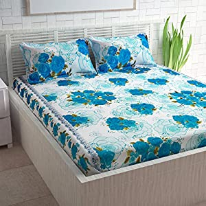 Divine Casa 100% Cotton Abstarct Print Mix N Match Bedsheet for Double Bed (Green )