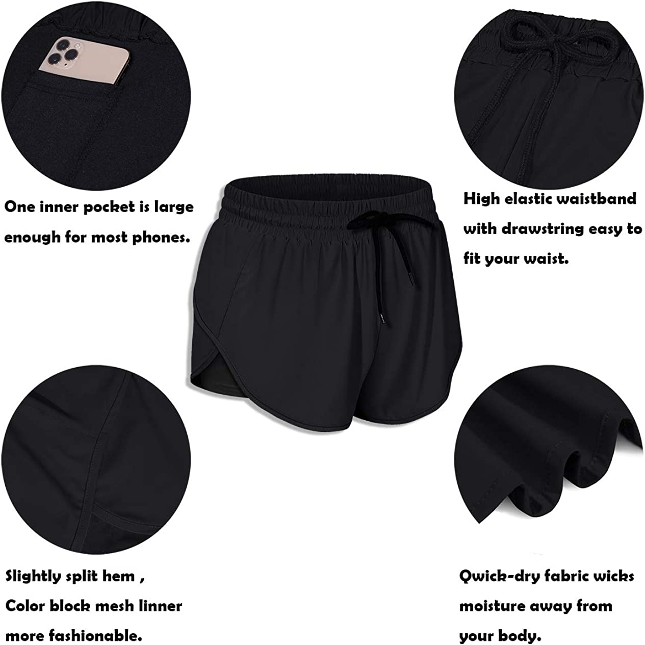 BLEVONH 2N1 Shorts Women,Stretch Waist Light Yoga Running Short with Pocket Ladies Color Block Fast Dry Workout Sports Athletic Short Pants Woman Classy Sturdy Active Wear Bottoms Black M