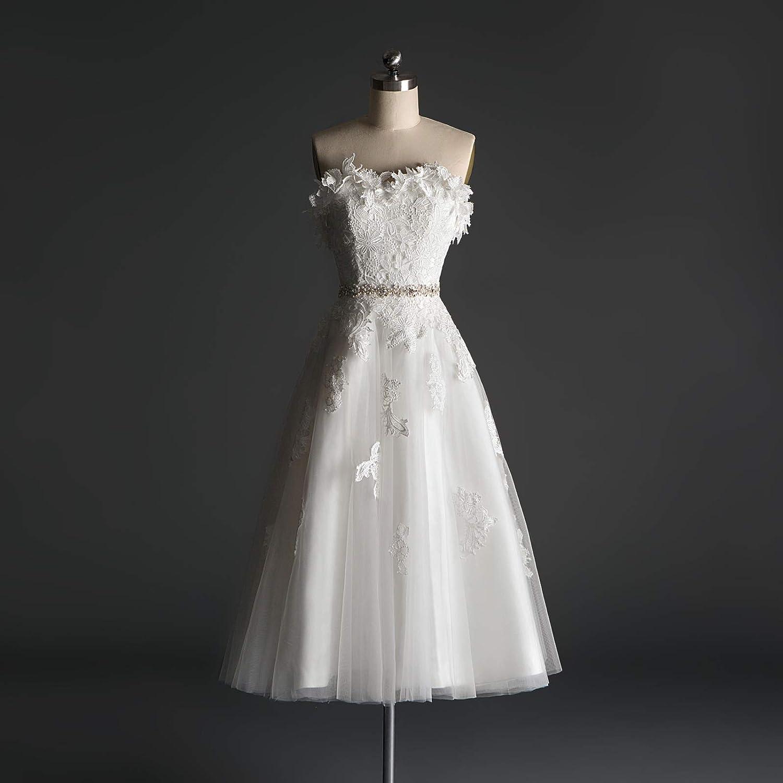 Strapless Tea Length Wedding Dress
