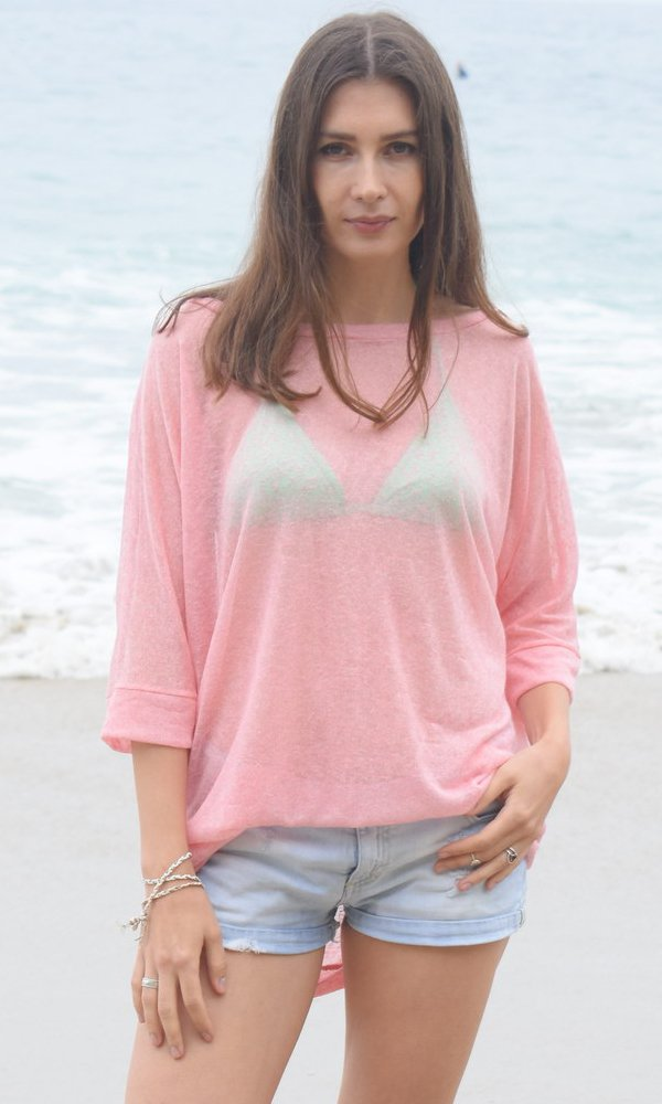 Coral Sheer Kimono Sweater Top, Layering Loose Knit Beach Sweater, Ocean Sweater, Watercolor Top. Size M-XL