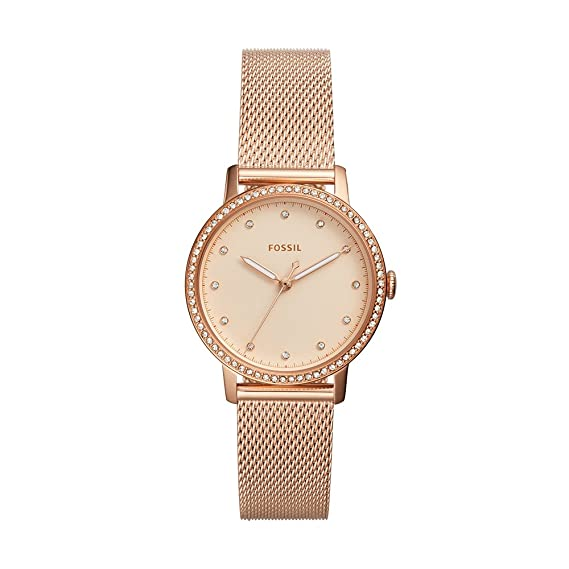 Amazon.com: Fossil Womens Neely Quartz Stainless Steel and Stainless Steel Dress Watch Color: Rose Gold (Model: ES4365): Watches