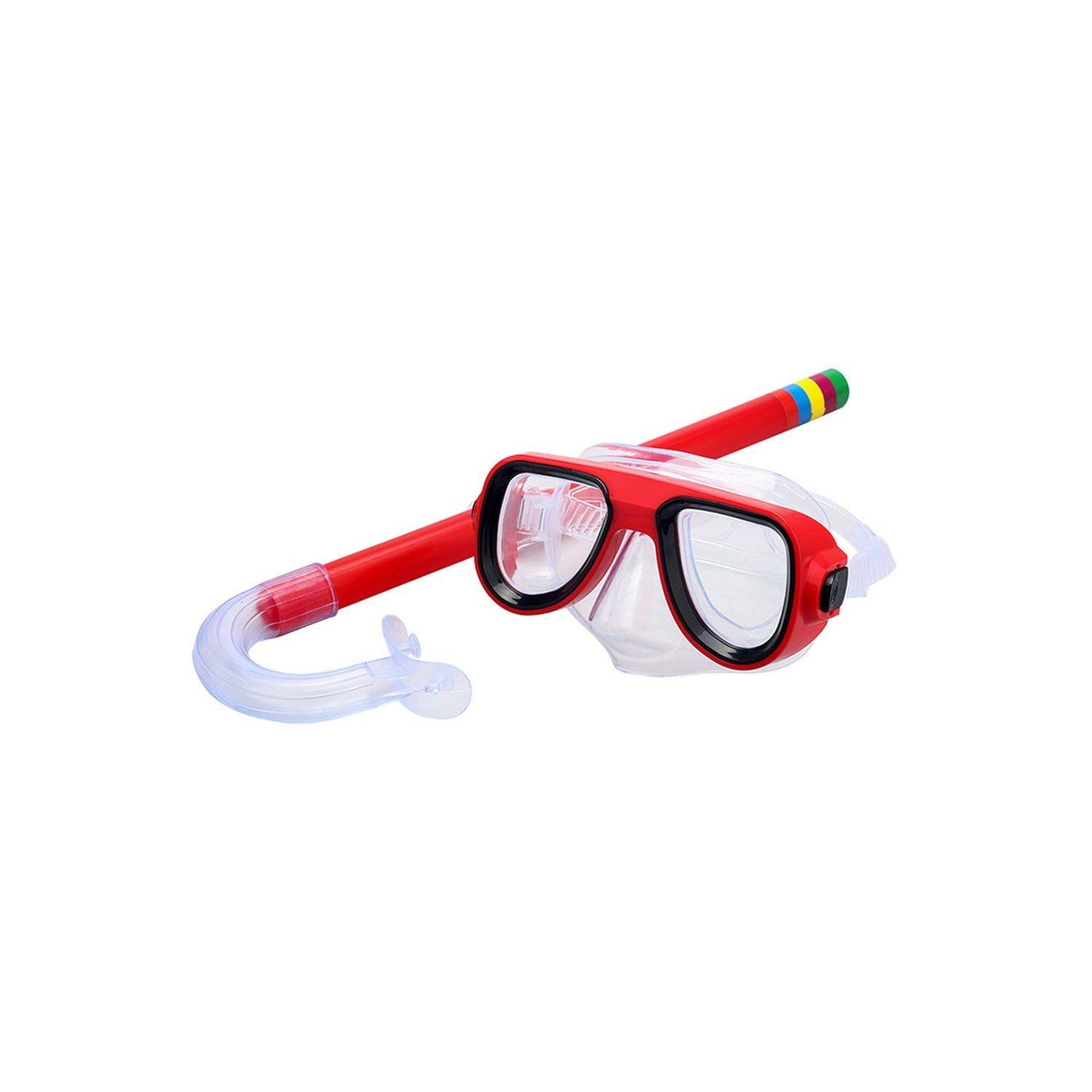 Fly-Town Children Swimming Goggles Snorkeling Diving + Breathing Tube 5 Colors Swimming Water Sports Glasses Diving Eyewear for Boy Girl,Red,One Size by Fly-Town