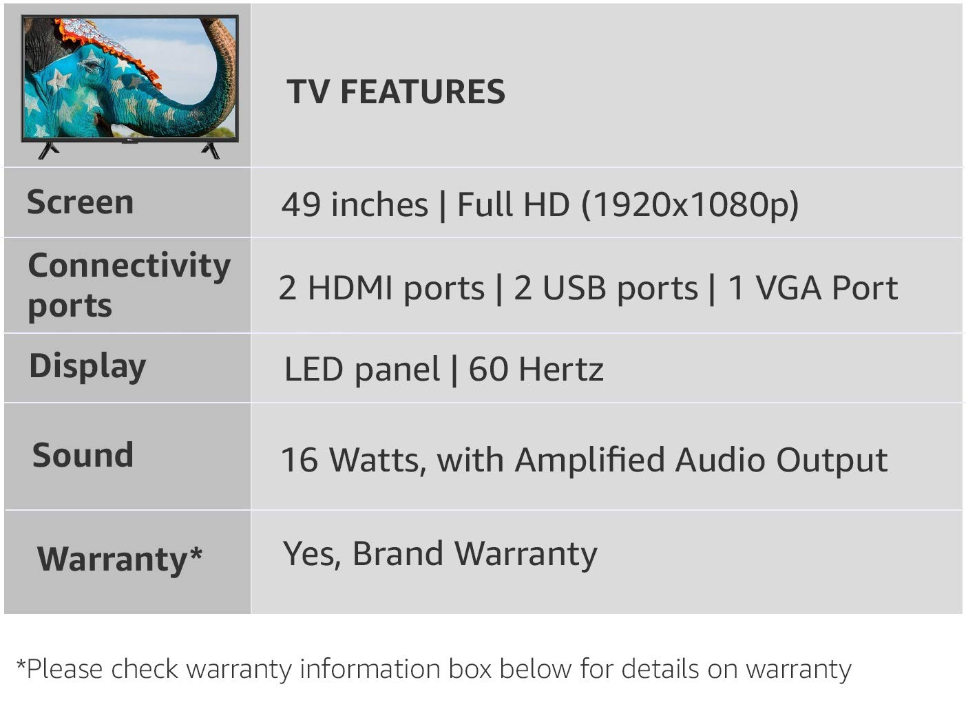 Tcl 123 Cm Full Hd Led Tv L49d2900 Electronics Aaa C Wire Color Diagram Typical Single Line Unit