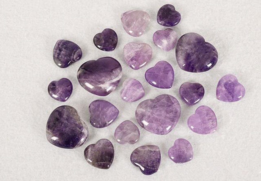 Natural Amethyst Gemstone Healing Crystal Puff Heart Love Worry Fengshui Stone Chakra Reiki Balancing Massage and Decoration by JRT (Image #6)