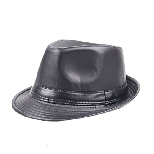 XueXian(TM) Mens Solid PU Leather Gangster Fedora Hat (Black) at Amazon  Men s Clothing store  4e6a692200cc