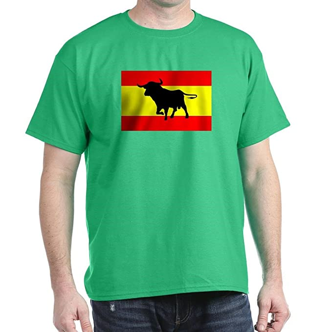 Amazon.com: CafePress Camiseta Toro Y Bandera Espana Cotton T-Shirt Black: Clothing