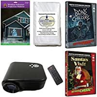 AtmosFearFx Christmas and Halloween Digital Decoration Kit includes 800 x 480 Resolution Projector, Hollusion (W) + Reaper Bros Rear Projection Screens, Santas Visit and Bone Chillers on DVDs