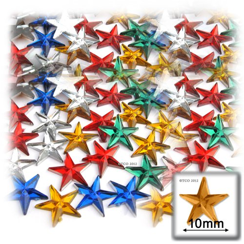 The Crafts Outlet 144-Piece Star Rhinestones, 10mm, Multi Assortment -