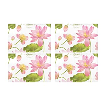 Stylish Floral Botanical Beautiful Flowers Kitchen Printed Stain Resistant Heat Insulation Washable Square Table Mat Placemat
