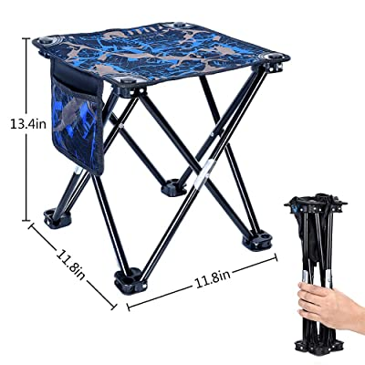 "Mini Folding Stool, Portable Lightweight Outdoor Folding Chair with Carry Bag, 600D Oxford Cloth, Backpack Outdoor Chair for BBQ, Camping, Ice Fishing, Travel, Hiking, Garden, Beach, 11.8""x11.8""x13.4"" : Sports & Outdoors"