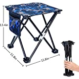 "Mini Folding Stool, Portable Lightweight Outdoor Folding Chair with Carry Bag, 600D Oxford Cloth, Backpack Outdoor Chair for BBQ, Camping, Ice Fishing, Travel, Hiking, Garden, Beach,11.8""x11.8""x13.4"""