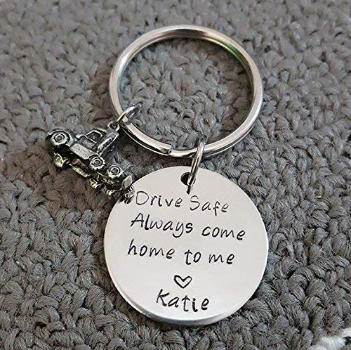 Drive Safe Key Chain with Truck, Always Come Home to Me, Handstamp, Truck  Driver Be Safe Gift