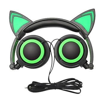 ... Oído Plegable De Los Gatos Led Música Enciende Las Auriculares del Auricular del Auricular para El Ordenador Portátil Mp3: Amazon.es: Electrónica