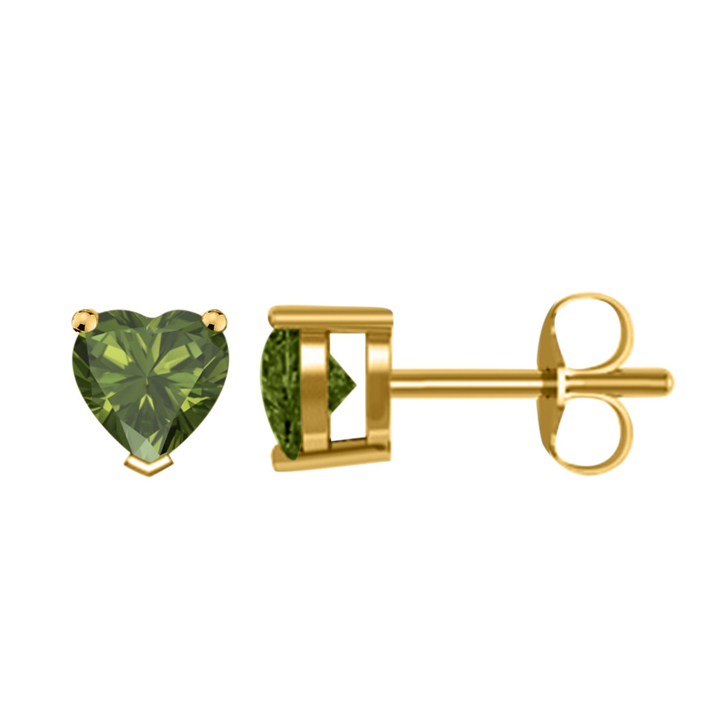 Womens /& Girls 4MM TO 8MM Heart Shape Created Green-Tourmaline Solitaire Stud Earrings with 14K Yellow Gold Plated